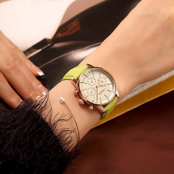 Đồng hồ nữ Julius Hàn Quốc chạy 6 kim JA-862C JU1066 dây da ( xanh thổ)