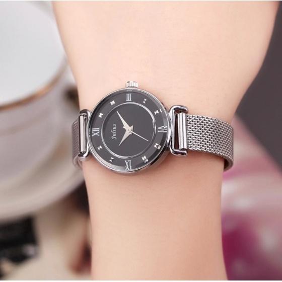Đồng hồ nữ Julius Hàn Quốc JA-728B dây thép ( bạc mặt đen)