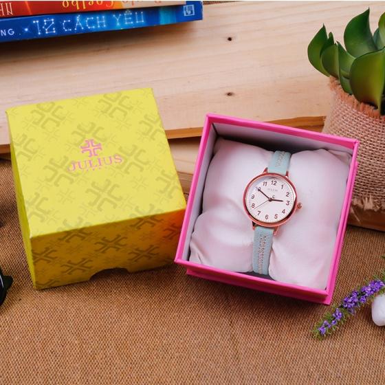 Đồng hồ nữ Julius Hàn Quốc JA-1073D dây da (xanh)