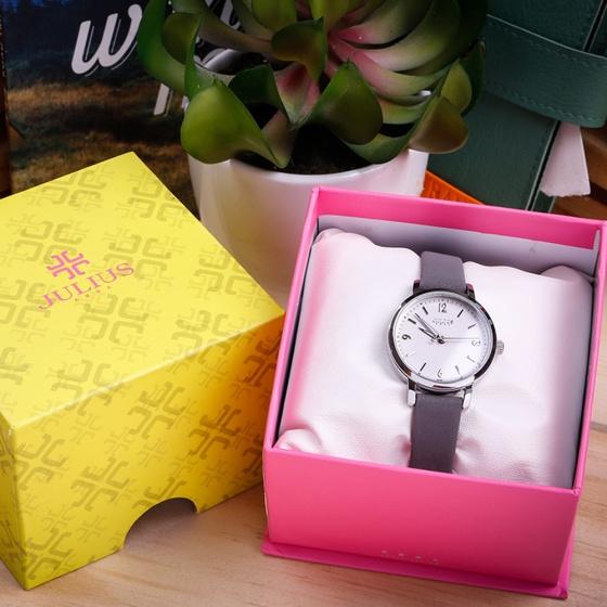 Đồng hồ nữ Julius Hàn Quốc JA-1070A dây da ( xám)
