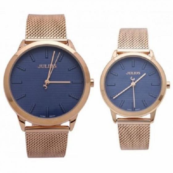 Đồng hồ cặp Julius chính hãng Hàn Quốc dây da NT1231 đồng mặt xanh