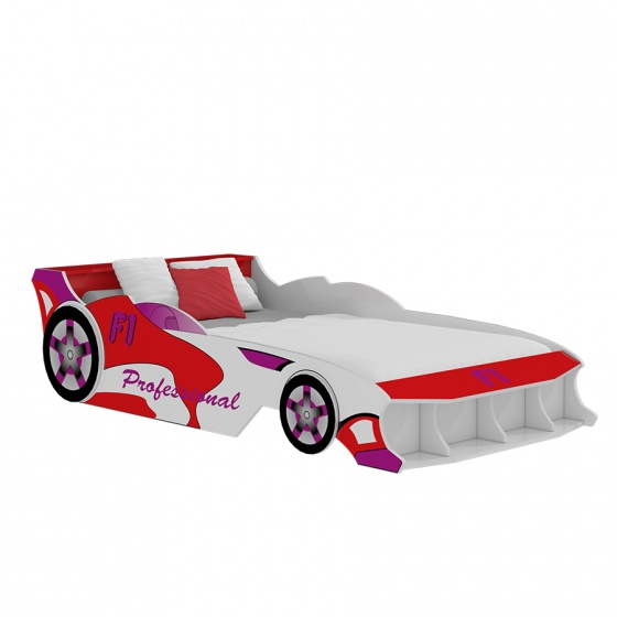 Giường trẻ em ôtô F1 (1m4) - đỏ