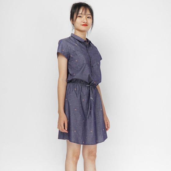 Đầm linen chun eo Angeli Phạm D288