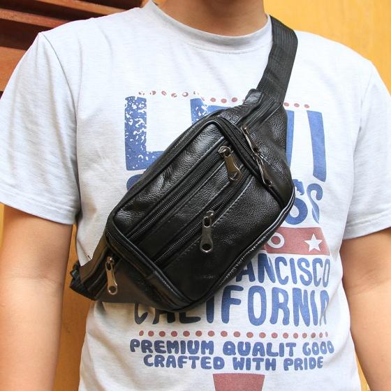 Túi đeo chéo da bò Manzo TDH2.V, bảo hành 3 năm - tặng móc chìa khóa da bò