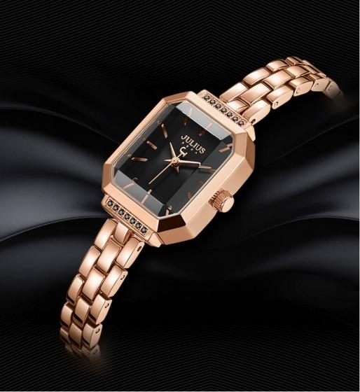 Đồng hồ nữ Julius Hàn Quốc JA-1064E dây thép (đồng mặt đen)