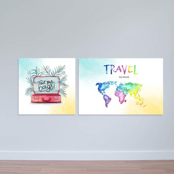 """Bộ 2 tranh canvas """" Travel Tranh typography đơn giản W2008"""