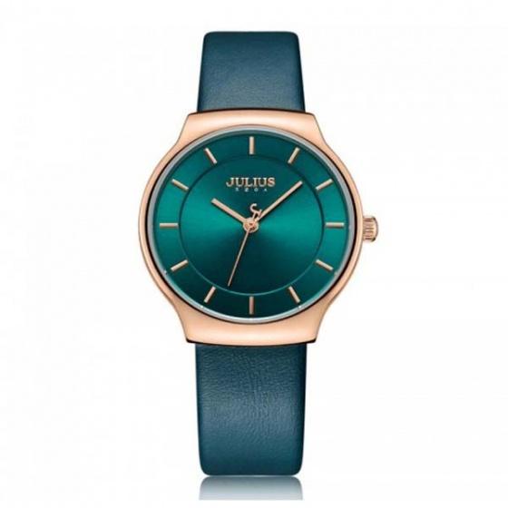 Đồng hồ nữ ja-1156 julius hàn quốc dây da xanh