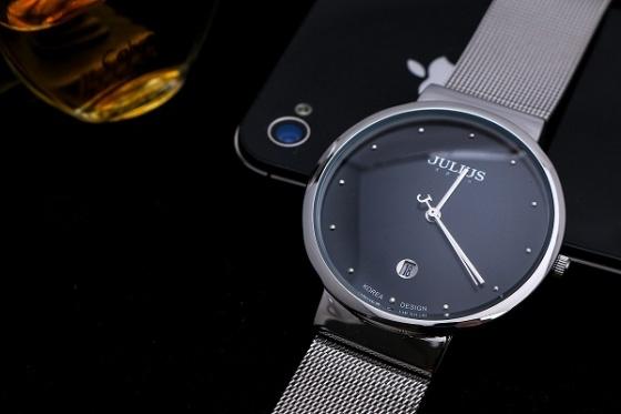 Đồng hồ nam Julius Hàn Quốc JA-426MD (bạc mặt đen) dây lưới