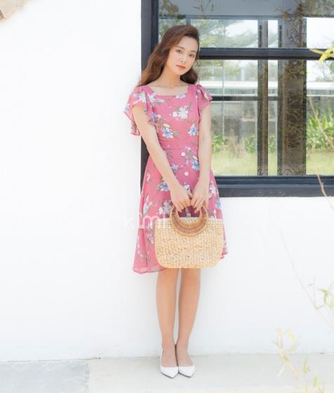 Đầm hoa cổ vuông - AD190014