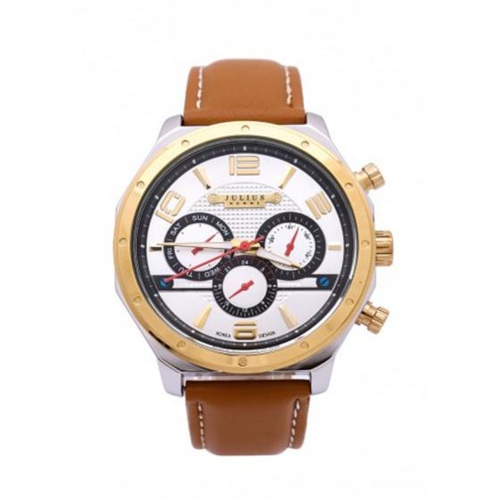 Đồng hồ nam Julius Home Hàn Quốc dây da  JAH-063D JU1174 (Nâu vàng)