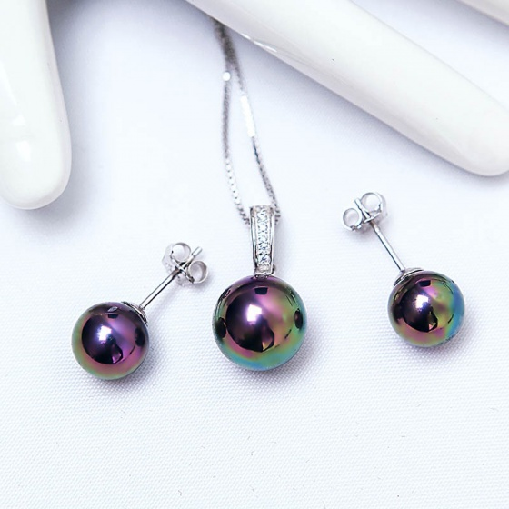 Bộ trang sức bạc Ngọc trai nhân tạo nhiều màu