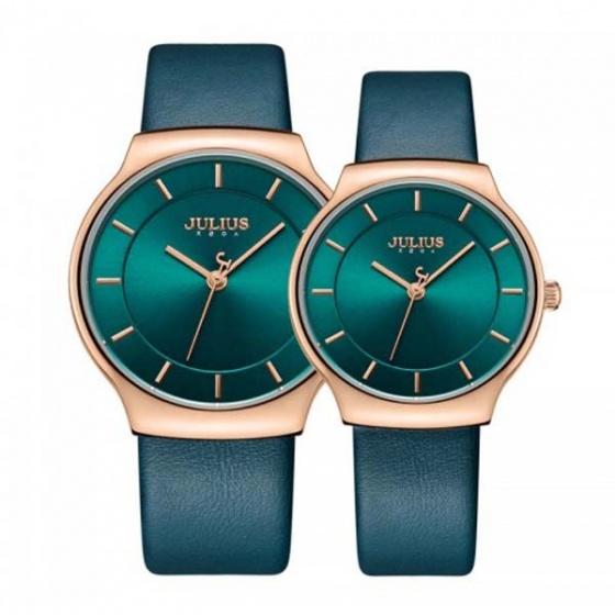 Đồng hồ cặp ja-1156b julius hàn quốc dây da - xanh