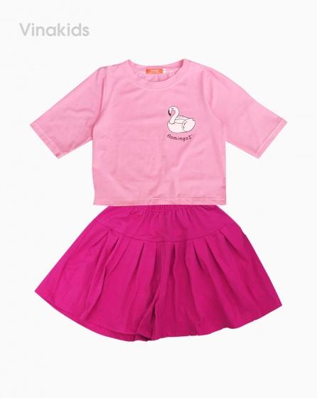 Đồ bộ bé gái quần giả váy thiên nga màu hồng 7-10 tuổi