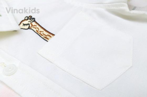 Áo sơ mi bé trai Vinakids thêu hươu màu trắng 8-12 tuổi
