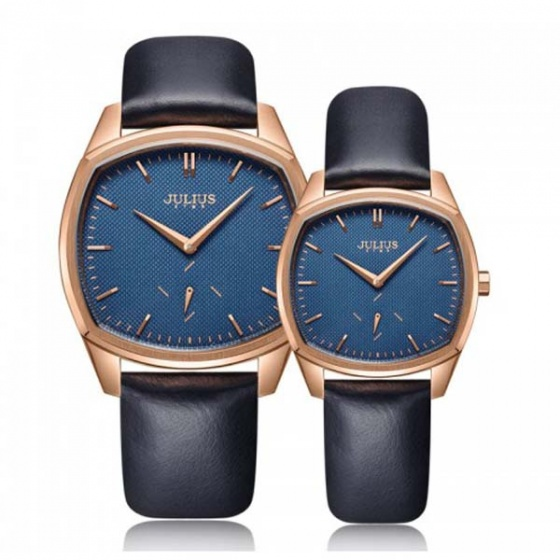 Đồng hồ cặp js-014c julius star hàn quốc dây da -xanh