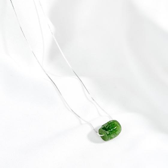 Dây chuyền bạc lu thống ngọc bích hoa văn