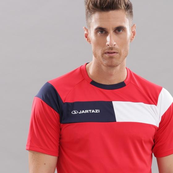 Áo thun nam không cổ ngắn tay Cordoba Jartazi (Poly T-Shirt Cordoba) JA4040M (đỏ phối trắng xanh)