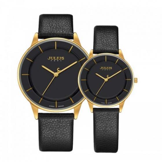Đồng hồ cặp ja-957b julius hàn quốc dây da đen