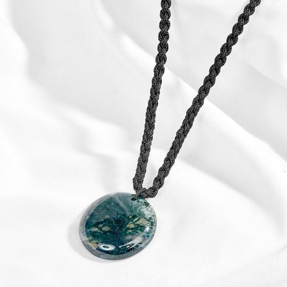 Mặt dây chuyền phong thủy đá băng ngọc thủy tảo xanh rêu tròn Ngọc Quý Gemstones