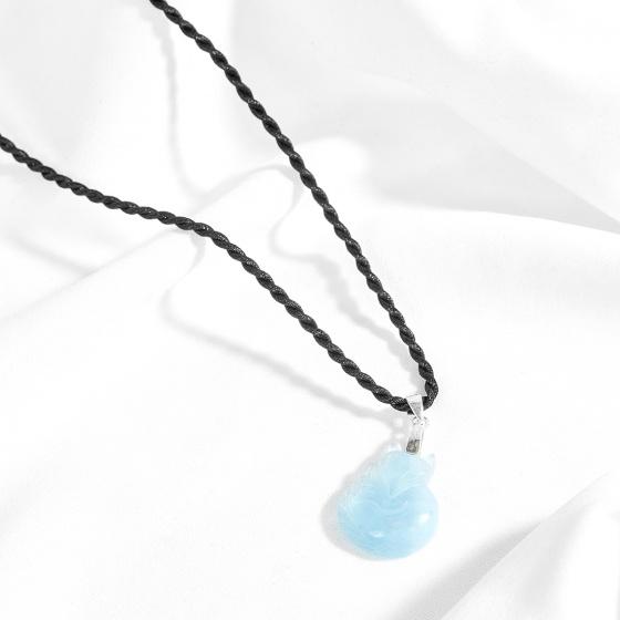 Mặt dây chuyền hồ ly 9 đuôi đá aquamarine