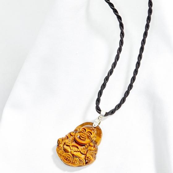 Mặt dây chuyền phong thủy phật di lặc đá thạch anh mắt hổ vàng nâu Ngọc Quý Gemstones