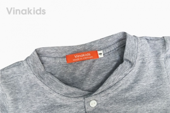 Đồ bộ bé trai cổ trụ thêu logo Vinakids màu ghi 2 -7 tuổi
