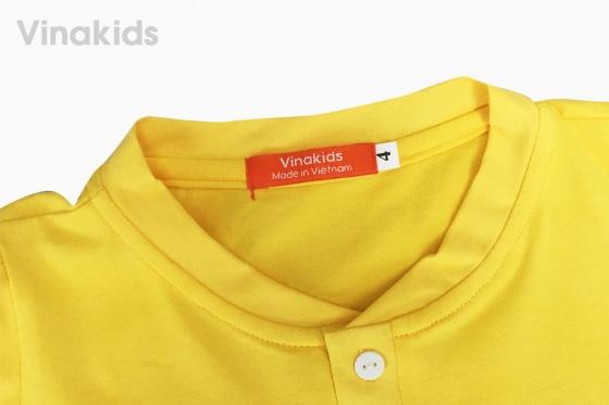 Đồ bộ bé trai cổ trụ thêu logo Vinakids màu vàng 2 -7 tuổi