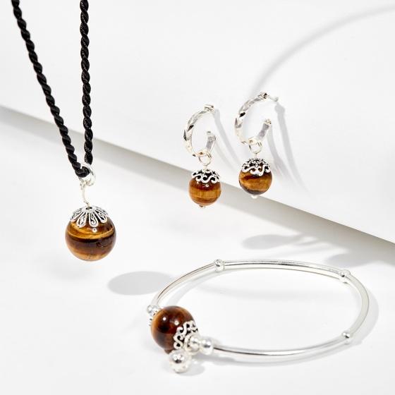 Bộ trang sức đá mắt hổ vàng nâu thiên nhiên Ngọc Quý Gemstones