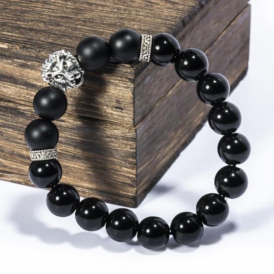 Vòng tay đá Obsidian 10mm mix charm bạc BRBO10M03 - VietGemstones