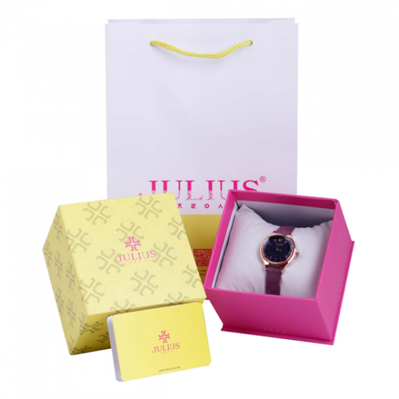 Đồng hồ nữ dây da chính hãng Julius Hàn Quốc JA-1131D (Tím nhạt)