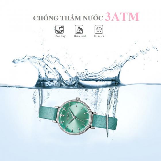 Đồng hồ nữ dây da chính hãng Julius Hàn Quốc JA-1115A (xanh nhạt)