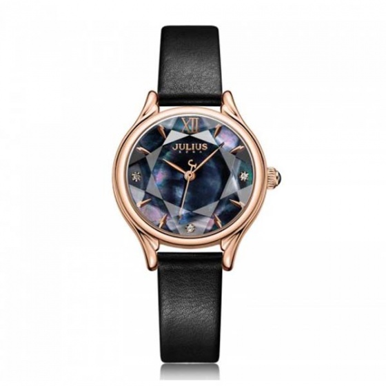 Đồng hồ nữ ja-1154e julius hàn quốc dây da - đen