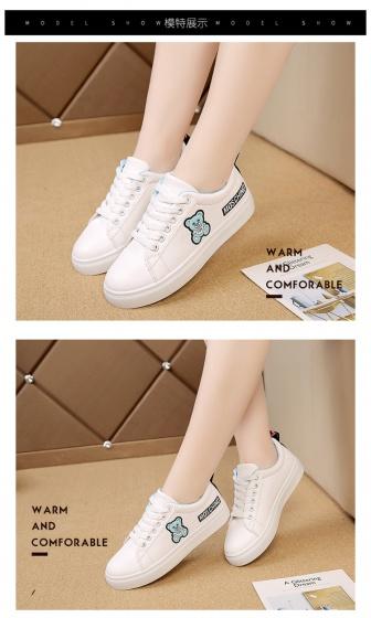 Giày thể thao nữ sneaker, giày nữ thể thao, giày nữ trắng thời trang gấu xanh