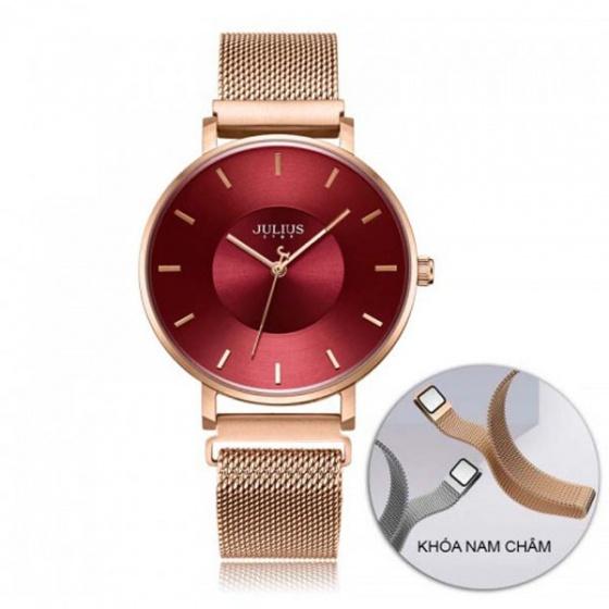 Đồng hồ nữ dây nam châm JS-025B JULIUS Star Hàn Quốc - đỏ