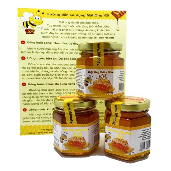 Combo 3 lọ mật ong rừng nguyên chất KB 70ml/Lọ tặng thỏi mật ong dưỡng môi 10ml