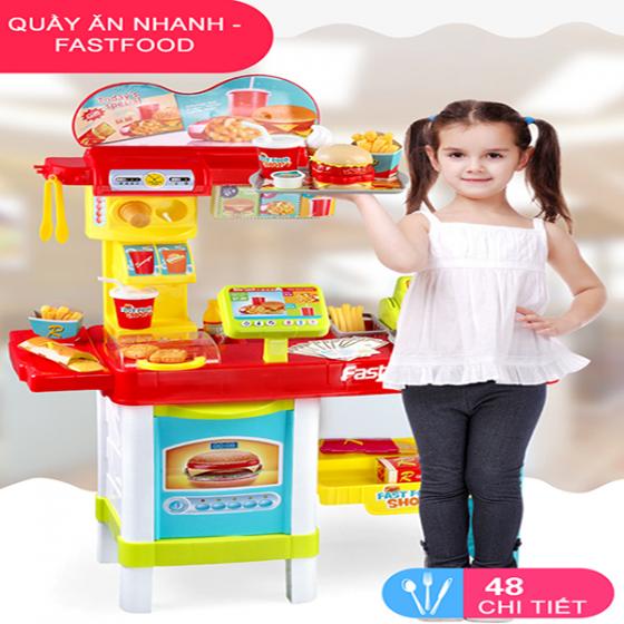 Bộ đồ chơi quầy đồ ăn nhanh và đồ ăn sáng bằng nhựa cao cấp cho bé