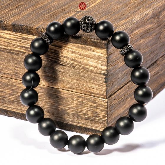 Vòng tay đá Obsidian 08mm mix charm bạc BRBO08M02 - VietGemstones