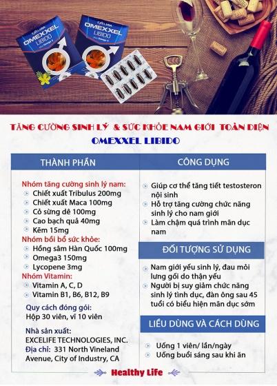 Combo 2 hộp viên uống tăng cường sinh lý & sức khỏe nam giới Omexxel Libido (60 viên) - Chính hãng Mỹ