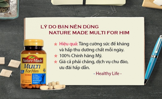 Vitamin tổng hợp cho nam Nature Made Multi For Him (90 viên) - Xuất xứ Mỹ