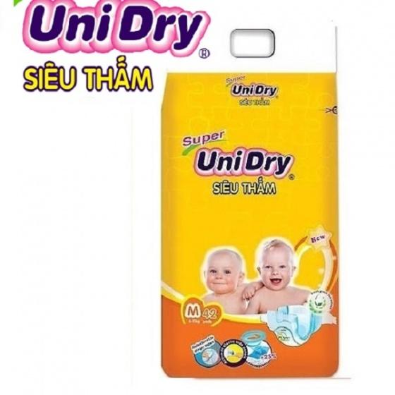 (Tặng 1 gói khăn ướt Unifresh Aloe vera 80M) tã dán trẻ em Unidry size M42 (bé cân nặng từ 6 đến 11kg)