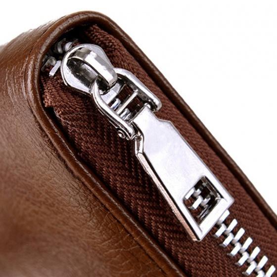 Ví cầm tay nam-nữ (Unisex) da pu cao cấp ( 2 màu đen, nâu) Manzo VCT009 ( Tặng móc khóa da bò thật) Bảo hành 1 năm