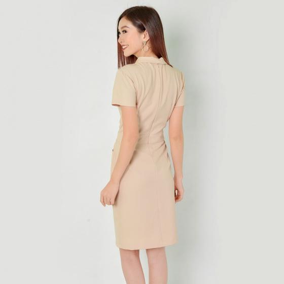 Đầm công sở thời trang Eden cổ vest tay ngắn (kem) - D323