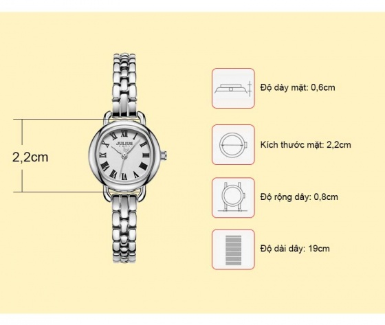 Đồng hồ nữ JA-1150 Julius Hàn Quốc dây thép (nhiều màu)