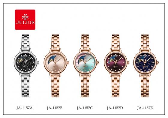 Đồng hồ nữ JA-1157 Julius Sun And Moon Hàn Quốc dây thép (bạc)