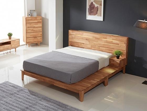 Giường đôi Calla liền tủ đầu giường gỗ cao su 1m6 - Cozino