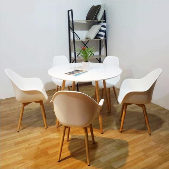 Ghế nhựa chân sắt giả gỗ Furnist Orchid