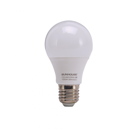 Bộ đèn led thân nhôm Sunhouse SHE-LEDA60AL-A6W đui xoáy, trắng