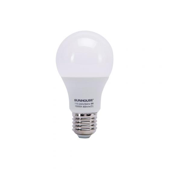 Bộ đèn led thân nhôm Sunhouse SHE-LEDA60AL-A8W đui xoáy, trắng