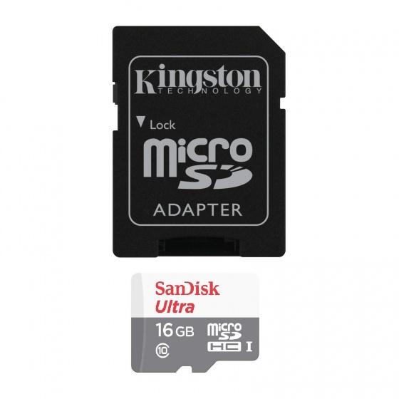 Combo thẻ nhớ Sandisk ultra micro SDHC 16GB C10 + Adapter Kingston
