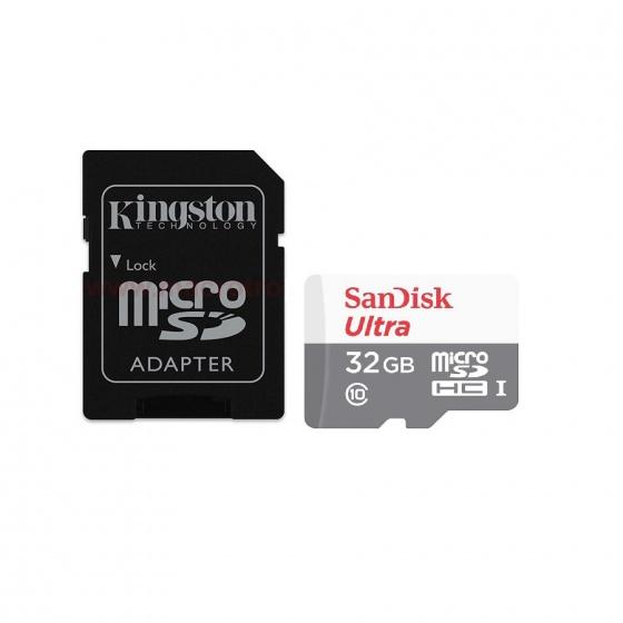 Combo thẻ nhớ Sandisk ultra micro SDHC 32GB C10+ Adapter Kingston